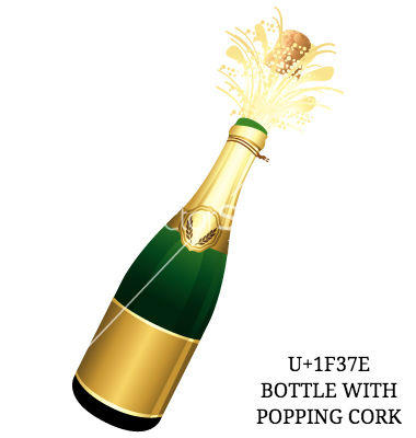 U+1F37E Bottle with popping cork.