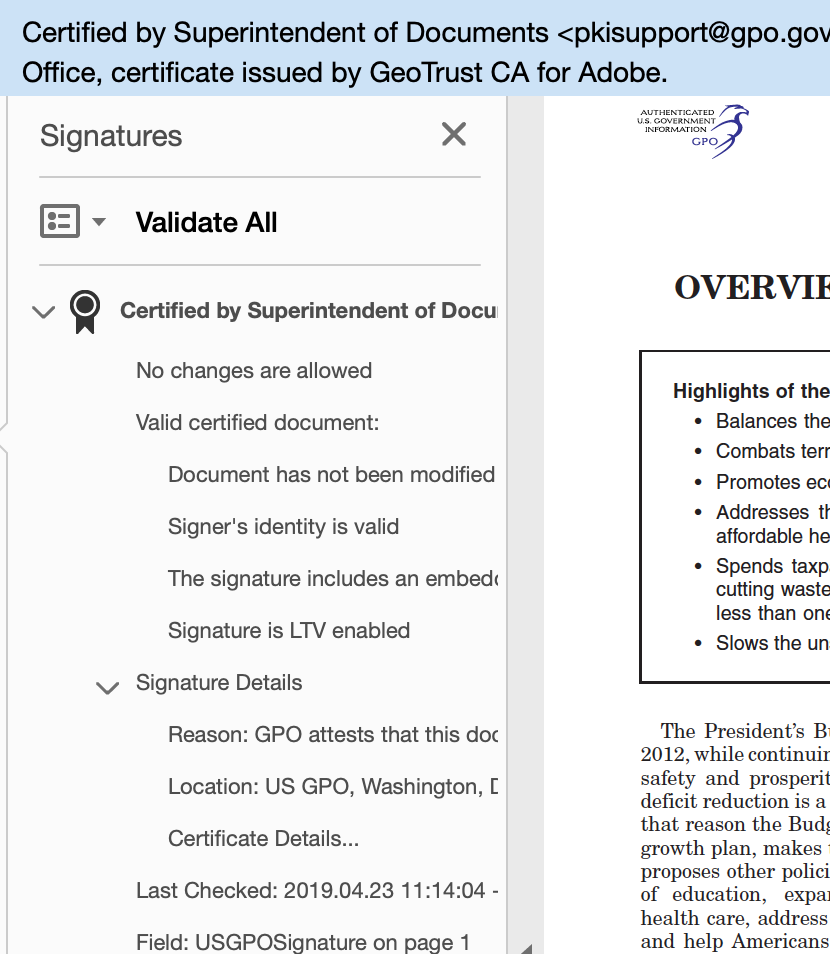 Screen shot showing a digital signature panel in a document signed by the GPO.