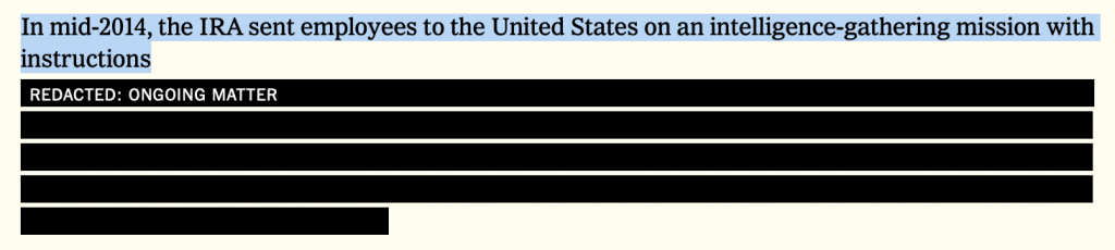 Screen shot of the New York Times' representation of a redacted para in the Mueller report showing that it's fully searchable.