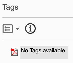 "Screenshot of Tags interface showing ""No tags available""."